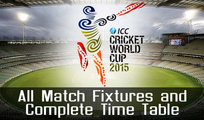 2015 Cricket WC Fixture